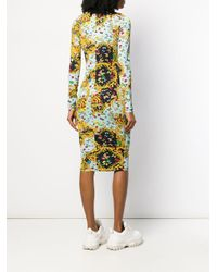 Versace Jeans Blue Barocco Butterfly Print Dress