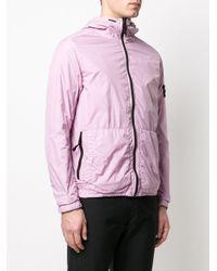 Stone Island Kapuzenjacke mit Logo-Patch in Pink für Herren