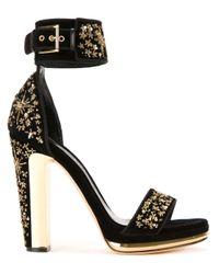 Alexander McQueen Black Buckled Platform Sandals