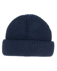 Woolrich Blue Knitted Beanie Hat for men