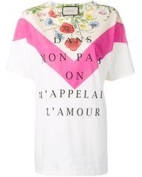 Camiseta con eslogan estampado Gucci de color Multicolor