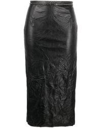 N°21 Black Crystal-embellished Pencil Skirt