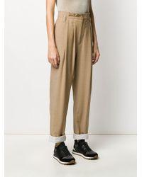 Brunello Cucinelli Brown Asymmetric Pleat Trousers