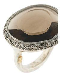 Rosa Maria - Metallic Smokey Quartz And Diamond Ring - Lyst