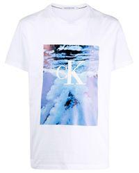 メンズ Calvin Klein グラフィック Tシャツ White