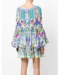 Camilla Blue Floral Flared Dress