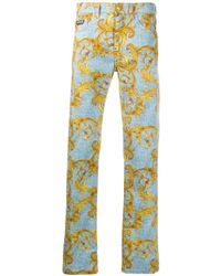 メンズ Versace Jeans バロックプリント ストレートジーンズ Blue