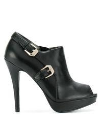 Versace Jeans Black Peeptoe-Pumps mit Schnallen