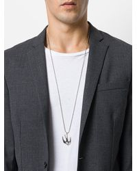 McQ Alexander McQueen - Metallic Swallow Charm Necklace for Men - Lyst