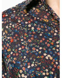 DSquared² Blue Floral Collared Print Shirt