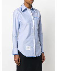 Thom Browne ロングスリーブ ボタンダウンスカート ラージスケール ビーズボウ ポプリン Blue