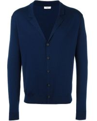Fashion Clinic Timeless Blue Notched Lapel Cardigan for men
