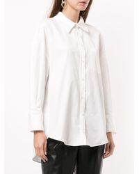 Anine Bing White Mika Long Sleeve Shirt