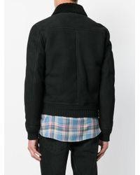 Saint Laurent Black Shearling Collar Aviator Jacket for men