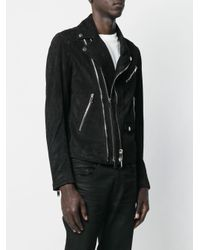 Les Hommes Black Zipped Fitted Biker Jacket for men