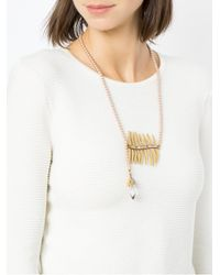 Camila Klein - Metallic Pearl Embellished Long Necklace - Lyst