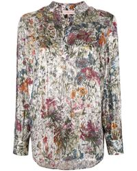 Tory Burch - White Printed V Neck Blouse - Lyst
