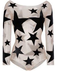 Alexia Hentsch - Black Silk Star Print Appliqué Bodysuit - Lyst
