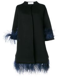 Gianluca Capannolo | Black Capucine Feather Embellished Coat | Lyst