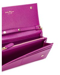 Ferragamo - Purple Double Gancio Leather Clutch - Lyst