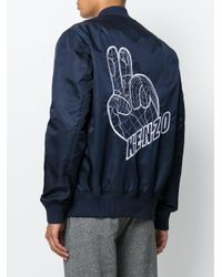 KENZO - Blue Peace World Embroidered Bomber Jacket for Men - Lyst