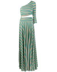Elisabetta Franchi Green One-shoulder Striped Cut-out Maxi Dress
