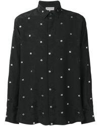 Camicia con ricamo di Saint Laurent in Black da Uomo
