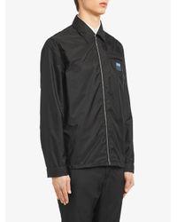 Camisa de tejido técnico con cremallera Prada de hombre de color Black