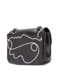 Bolso de hombro con motivo de cara Moschino de color Black