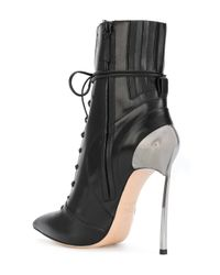 Casadei Black Techno Blade Lace-up Ankle Boots