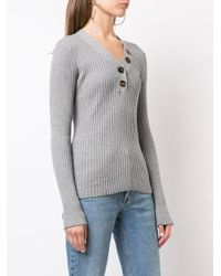 Autumn Cashmere Gray Rib Button Up Sweater