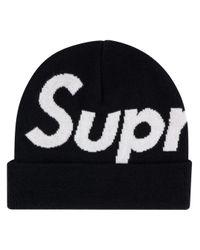 Supreme ロゴ ビーニー Black