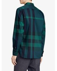 Burberry - Green Button-down Stretch Shirt for Men - Lyst