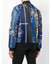 Versace Jeans Blue Tactel Printed Geo Bomber for men