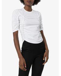 Mugler White Ruched Front T-shirt