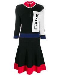 Karl Lagerfeld カラーブロック ドレス Black