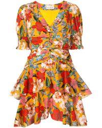 Nicholas Orange Kleid mit Blumenmuster