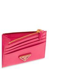 Porte-cartes en cuir Saffiano à plaque logo Prada en coloris Pink