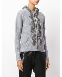 Jo No Fui Gray Embellished Hooded Cardigan