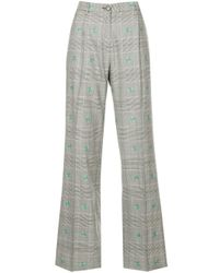 AlexaChung Gray Floral-embroidered Checked Trousers