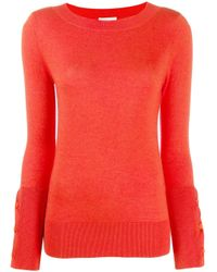 Round neck slim-fit jumper di Snobby Sheep in Red