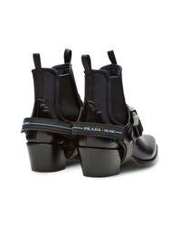 Prada Black Stiefeletten mit Scuba-Details