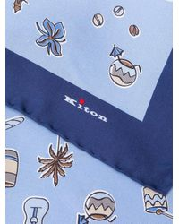 Mouchoir de poche imprimé Kiton pour homme en coloris Blue