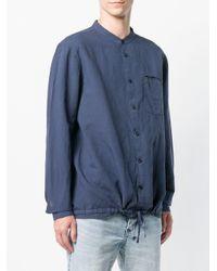 YMC Blue Mandarin Collar Beach Shirt for men