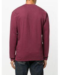 Stone Island Red Logo Printed Classic Sweatshirt for men