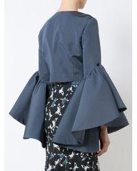 Christian Siriano Blue Flared Sleeve Cropped Jacket