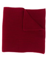 N.Peal Cashmere リブニットマフラー Red