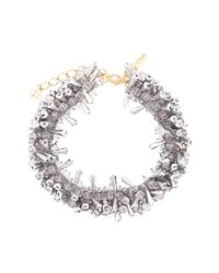 Oscar de la Renta - Gray Beaded Collar Necklace - Lyst