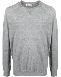 Brunello Cucinelli Gray Crew-neck Fine-knit Jumper for men