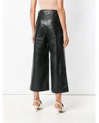 FEDERICA TOSI Black Wide-leg Cropped Trousers